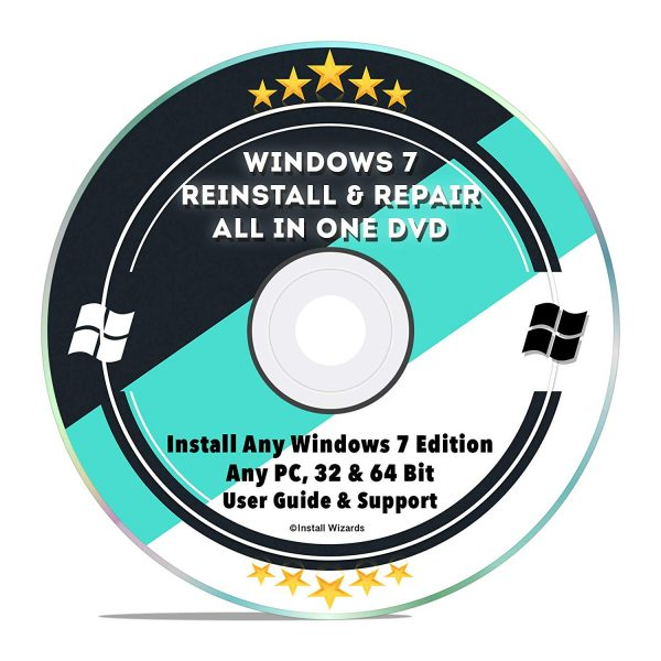 Windows 7 Reinstall Repair Recovery DVD with 2019 Drivers