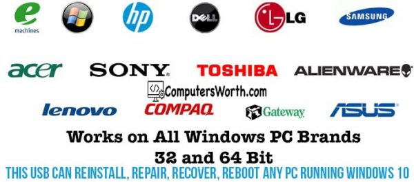 Windows 10 USB reinstall repair recovery dell hp